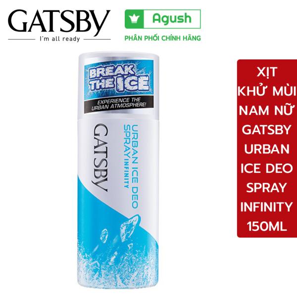 Xịt khử mùi nam nữ Gatsby Urban Ice Deo Spray Infinity 150ml giữ body mát mẻ menthol ngăn mồ hôi cơ thể hôi nách mùi thơm cao cấp hiện đại nhập khẩu