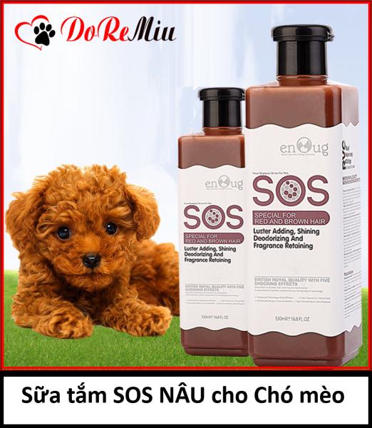 Doremiu- Sữa Tắm chó mèo SOS NÂU ĐỎ cao cấp dành cho thú cưng Mượt lông thơm lâu diệt ve rận.