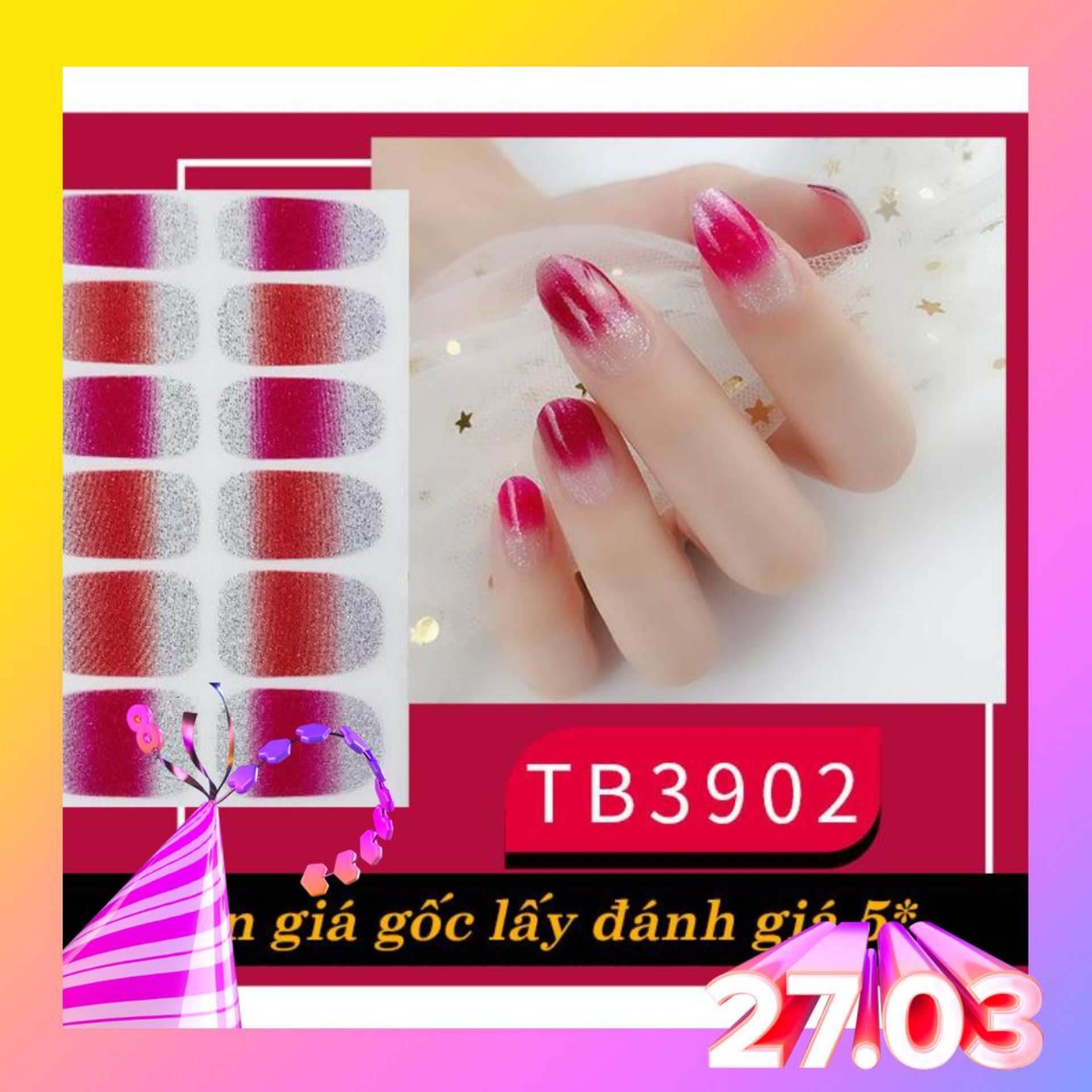Set 12 miếng dán móng tay Nail Sticker cao cấp