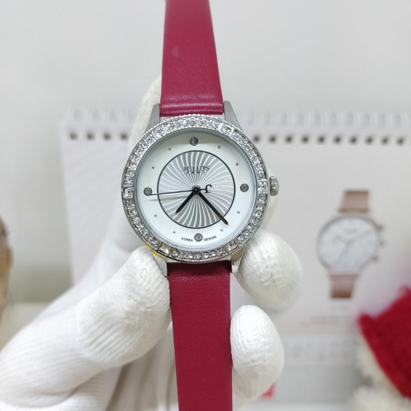 Đồng hồ nữ Julius JA-826A1 dây da viền đính đá đẹp mê li (Đỏ)