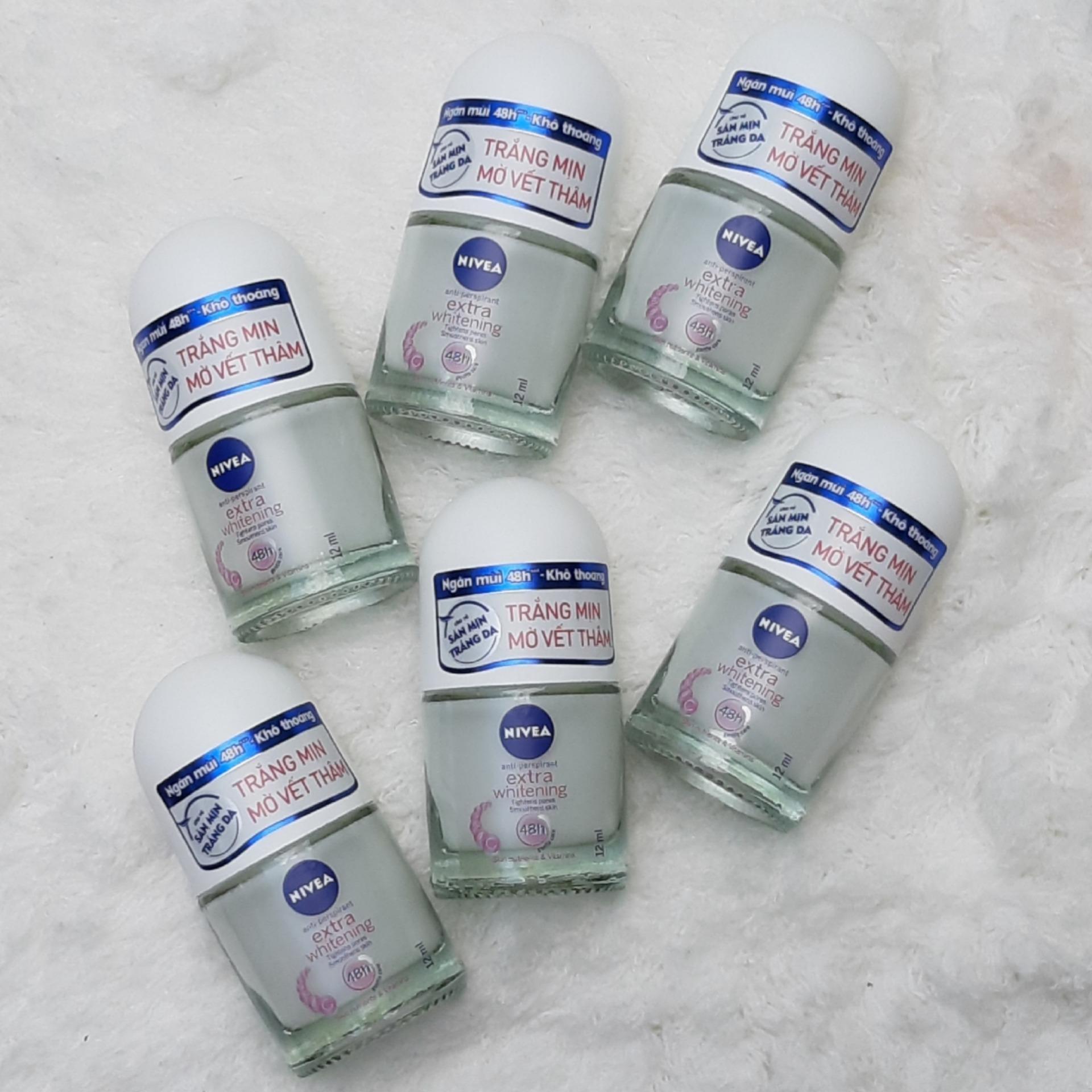 6 chai Lăn khử mùi Nivea Extra Whitening trắng mịn mờ vết thâm khô thoáng 48h ( Dành cho nữ ) 12ml nhập khẩu