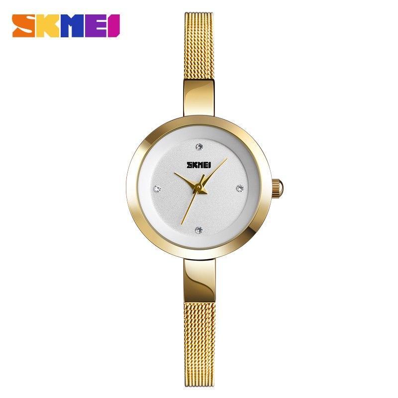 Đồng hồ thời trang nữ skmei sk13-90 kiểu dáng sang trọng hiện đại, size mini dây nhuyễn ôm tay, chịu nước 30M