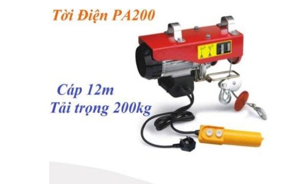 máy tời điện PA200 hàng cty tải trọng 100kG (200kG) dây cáp 20m Tời treo mini PA200 bảo hành 12 tháng
