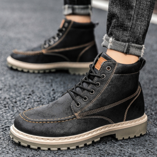 Giày cao cổ nam Fashion da cao cấp đế khâu kiểu dáng bụi bặm đường phố thumbnail