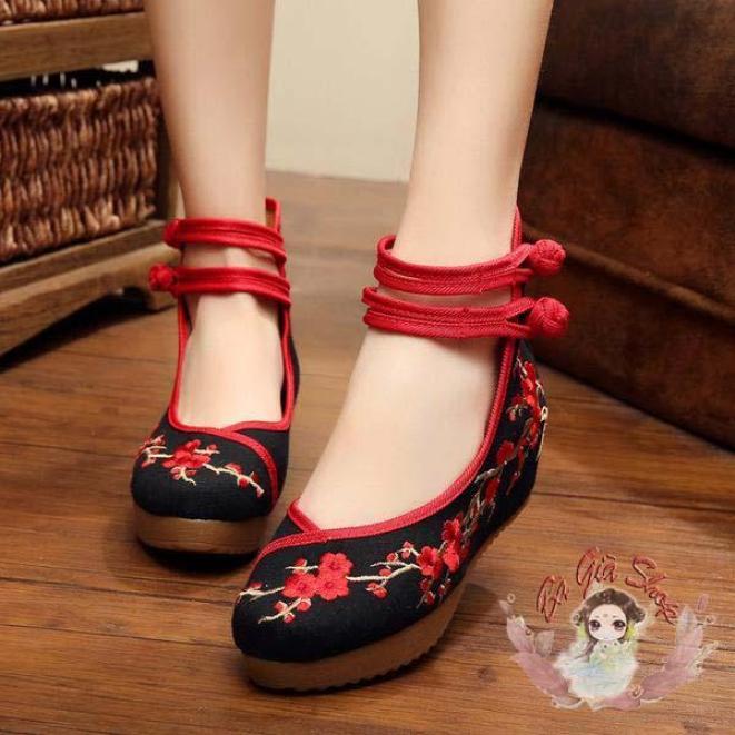 Giày vải thêu đào giày đế xuồng gót 5cm giá rẻ