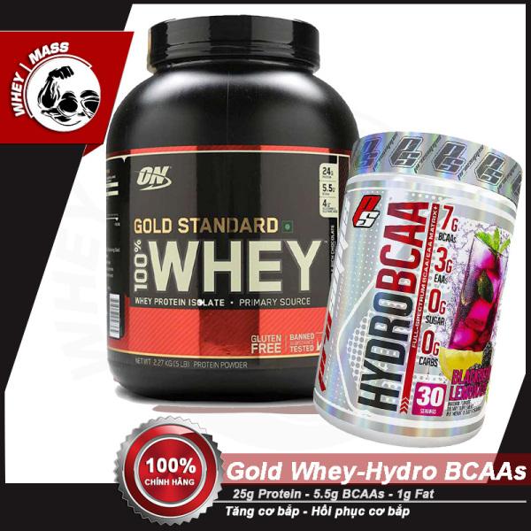 [COMBO] Tăng Cơ Bắp Hồi Phục Cơ Chống Dị Hóa Cơ ON Gold Stard 5lbs -HYDRO BCAAs 30 servings - Từ Mỹ