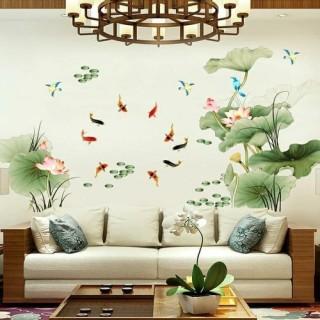 Decal dán tường combo 2 tờ Hồ Sen Cá chép khổ rộng- Hồ sen ngang 2- Tranh dán tường phong cách thumbnail