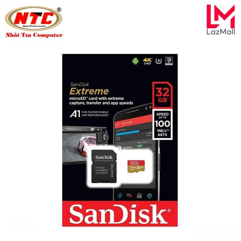 Thẻ nhớ microSDHC Sandisk Extreme 32GB 667X A1 V30 UHS-I U3 100MB/s - kèm Adapter (Vàng) - Nhat Tin Authorised Store
