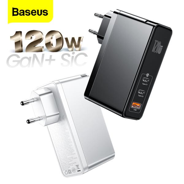 BASEUS Bộ sạc nhanh Gan Sic 120W EU/ US sạc nhanh USB QC 4.0 3.0 PD loại C cho Macbook Pro iPad iPhone Samsung Xiaomi - INTL