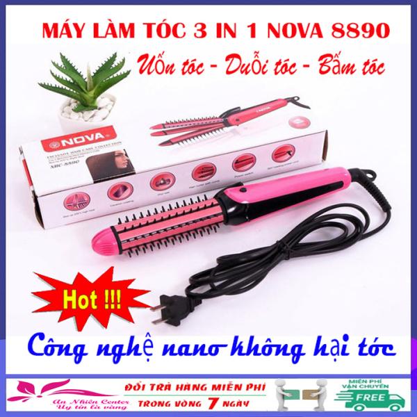 Máy uốn duỗi bấm tóc đa năng 3 in 1 NoVa 8890, máy tạo kiểu tóc mini giá rẻ công nghệ Nano không hại tóc