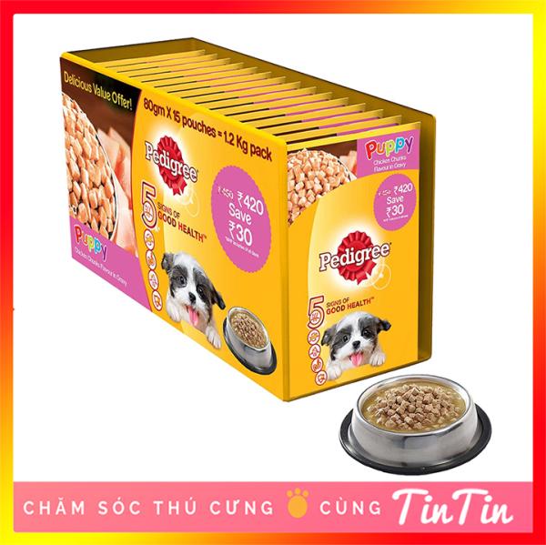 Combo 12 Gói Thức ăn Pate Cho Chó Con Pedigree Gói 130 Gram