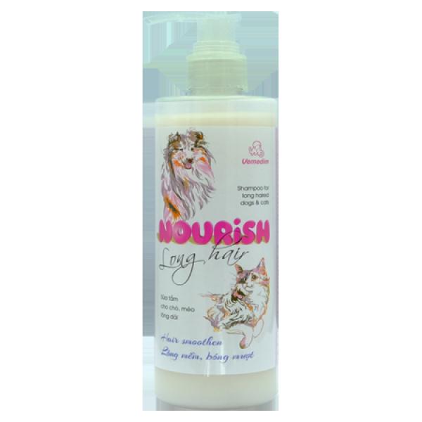 Shampo NOURISH long hair-Sữa tắm cho chó, mèo lông dài, cung cấp protein nuôi dưỡng bộ lông từ sâu bên trong, chai 300ml, Vemedim