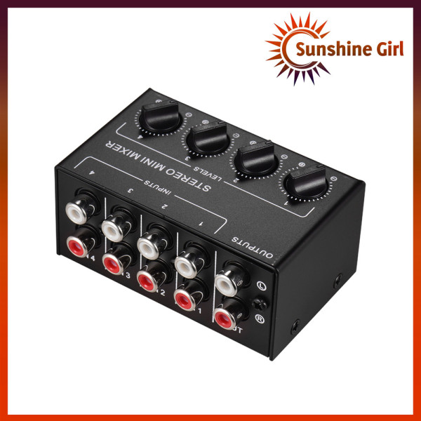 Mini Stereo Audio Mixer with 4-Channel RCA Inputs Separate Volume Controls Full Metal Shell