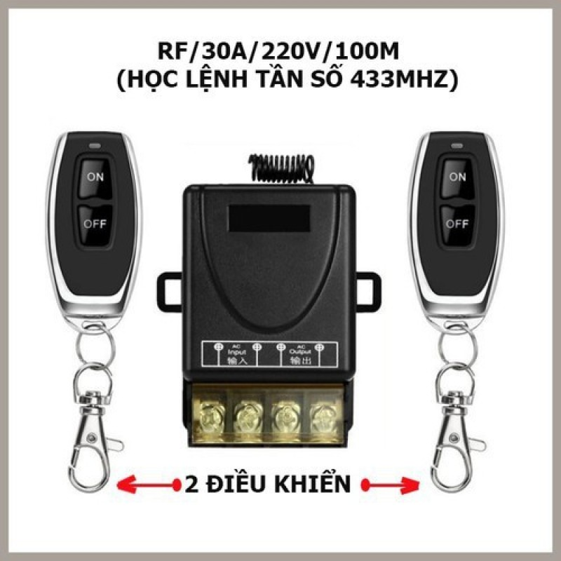 Bộ công tắc điều khiển từ xa rf 100m/30A/220V 2 tay điều khiển