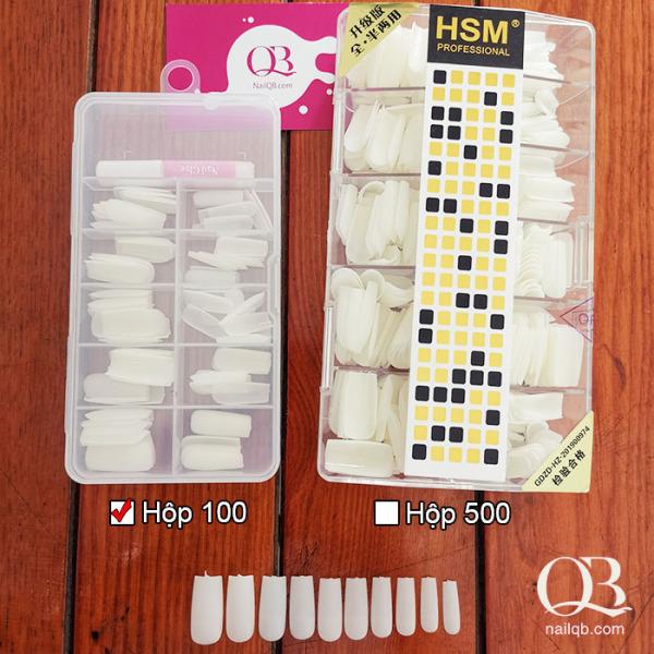 Hộp 100-500 móng úp nhám HSM phôm vuông + tặng kèm keo 2g và dũa giá rẻ