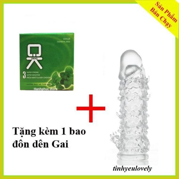 [Mua 1 Tang 1] Hop Bao cao su OK huong bac ha 3 chiếc.Tặng 1 ba0 bao su đôn dên gai sử dụng nhiều lần