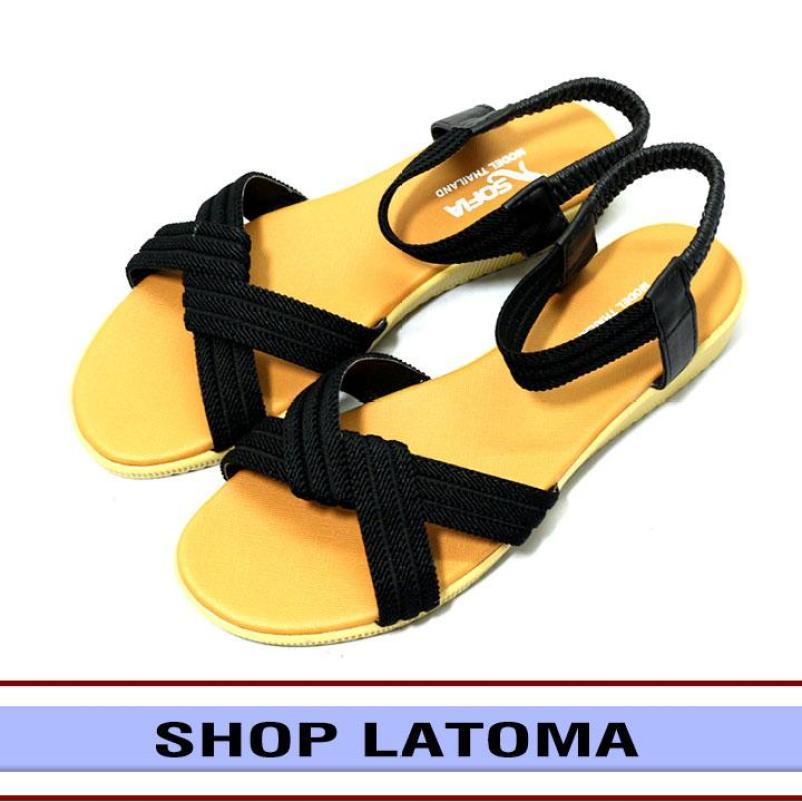 [Có Video Quay Thật] Giày Sandal nữ quai chéo cao cấp Latoma TA0411 (Đen) giá rẻ