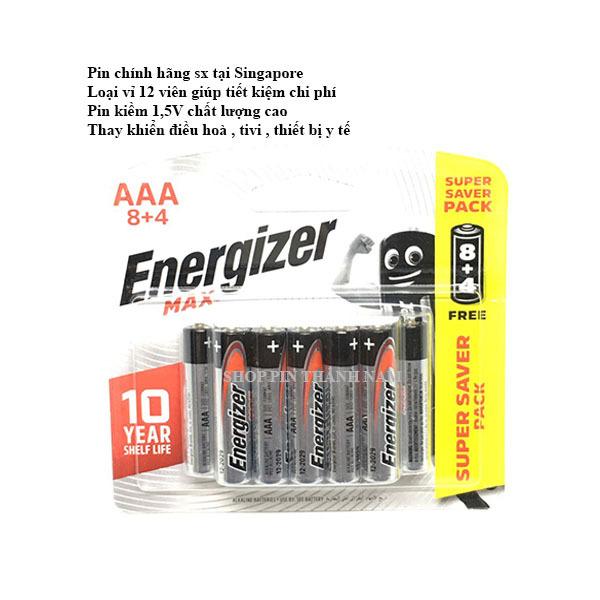 Bảng giá Pin đũa AAA Energizer max vỉ 12 viên