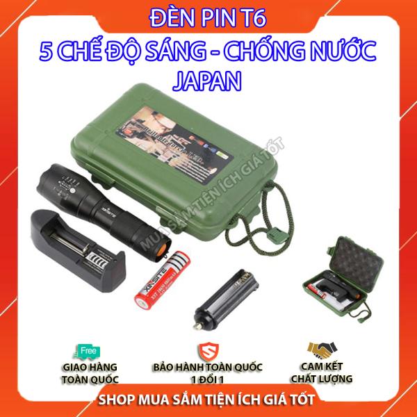 Đèn pin siêu sáng 5 chế độ T6, chiếu xa trăm mét, Bộ sản phẩm gồm có 1 đèn pin led mini cầm tay XML-T6, 1 pin sạc, 1 bộ sạc, 1 dụng cụ xài pin AAA, 1 đồ bảo vệ pin, 1 hộp đựng