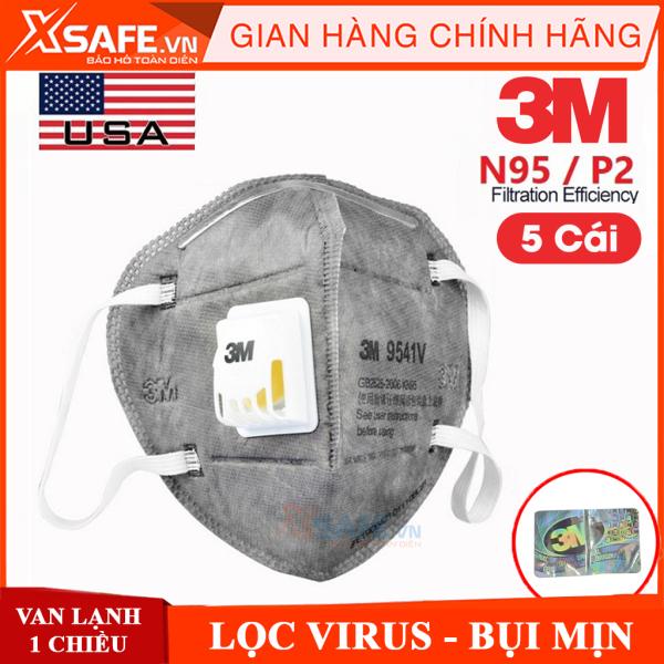 Khẩu trang N95 3M 9541V Khẩu trang 3D 5 lớp kháng virus, chống bụi mịn, phòng dịch, tiêu chuẩn KN95 chính hãng [XSAFE] [XTOOLs]
