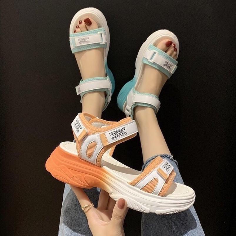 Sandal nữ 2 quai màu Xanh và Cam HÓt Trend Kèm Nhả thật )Uy Tin Shop (Ha Noi) giá rẻ