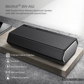 Loa bluetooth BW-AS2 không dây có trình điều khiển đôi BlitzWolf BW-AS2 40W 5200mAh 40W Tăng cường âm trầm hướng lên thumbnail