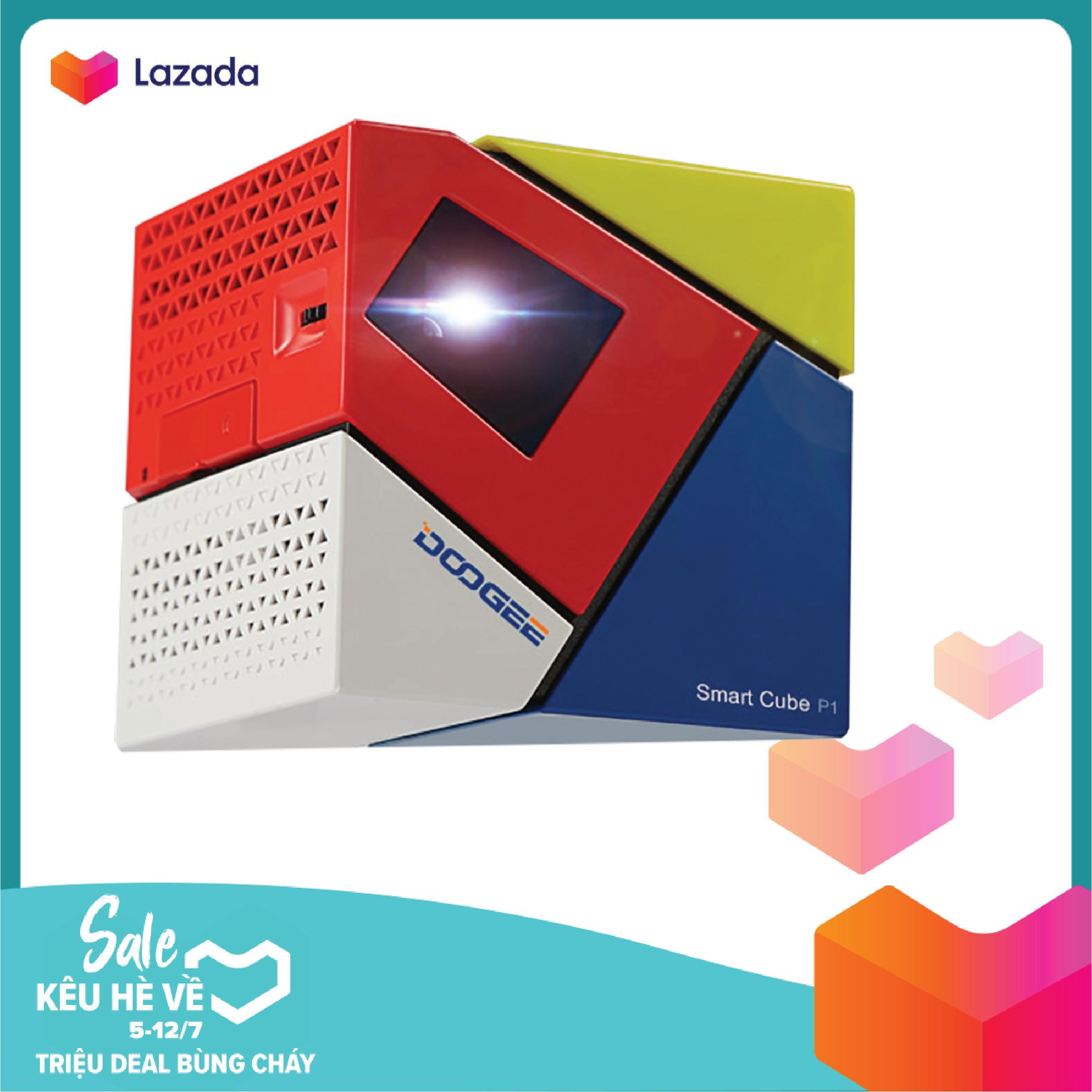 Máy Chiếu Mini Projector Android TV Smart Box Smart Cube P1 Quad Core 4 Nhân Bluetooth (Xanh đỏ Trắng) Ưu Đãi Bất Ngờ