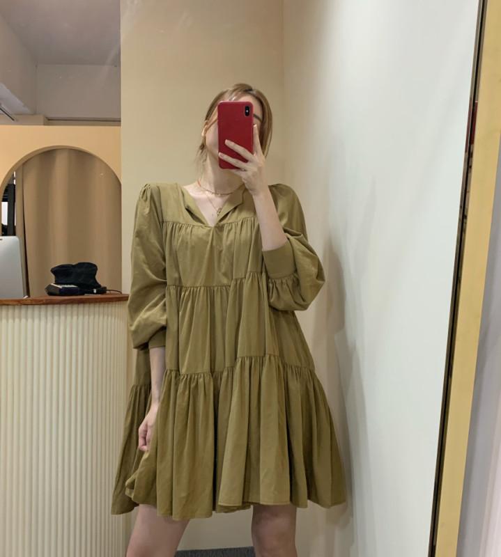 Hàn Quốc Chic Mùa Thu Đơn Giản Tôn Dáng Cổ Chữ V Kiểu Gấp Thiết Kế Dáng Suông Rộng Nhỏ Búp Bê Đầm Váy Ngắn Nữ