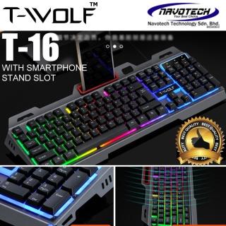 [CAO CẤP] Bàn phím máy tính, bàn phím Keyboard T-WOLF T16 Led 7 màu USB, thiết kế tính tế, siêu nhạy, bảo hành 12 tháng thumbnail