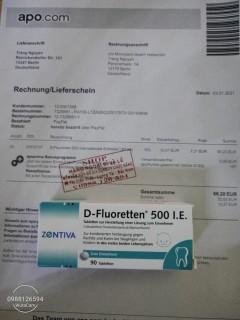 ( Giá Sỉ ) Vitamin D fluoretten 500 i.e 90 v Date2022 Bill mua hàng bên Đức thumbnail