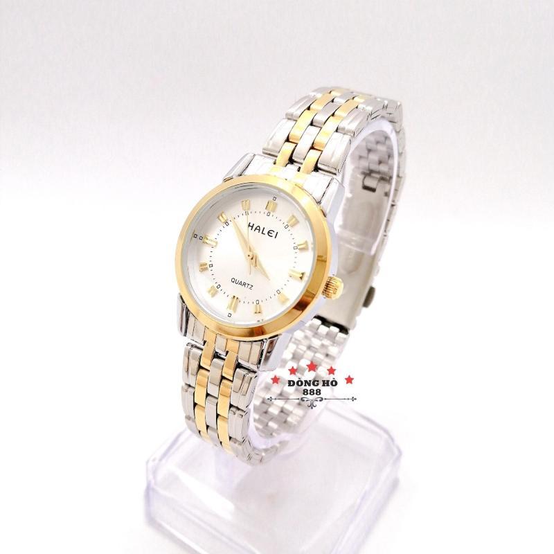 Đồng hồ nữ HALEI dây kim loại thời thượng ( HL502 dây demi mặt trắng ) - TẶNG 1 vòng tỳ hưu phong thuỷ