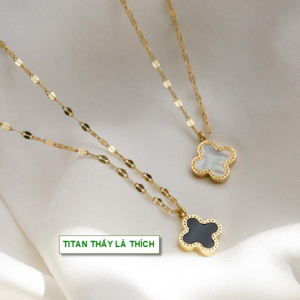 Dây chuyền vàng titan mặt cỏ 4 lá phối xà cừ đáng yêu sử dụng được 2 màu mặt đen với trắng - Hàng chuẩn titan màu sắc bóng đẹp - Cam kết 1 đổi 1 nếu gỉ sét