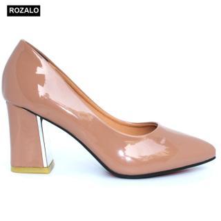 Giày nữ cao 7P gót vuông bọc kim loại da bóng Rozalo R8907 thumbnail