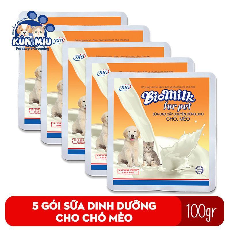 Combo 5 Gói Sữa Bột Cho Chó Mèo Bio Milk 100Gr Cung Cấp Dinh Dưỡng Cho Chó, Mèo