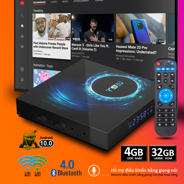 Android TV Box RAM 4G 32G ROM mạnh mẽ wifi bằng tần kép tv box android 10.0 phiên bản bluetooth 5.0 đa năng mang lại nhiều khung giờ giải trí cùng gia đình bảo hành 12 tháng tivi box