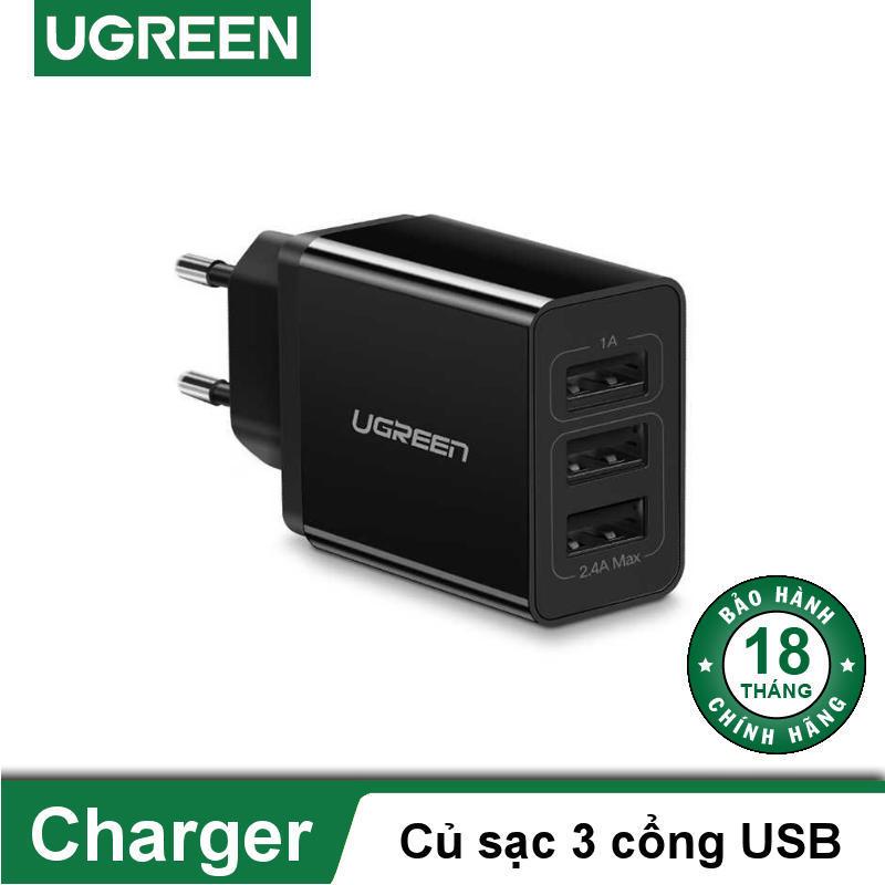 Cốc ( củ ) sạc 3 cổng USB đa năng chân EU UGREEN ED013 - Hãng phân phối chính thức