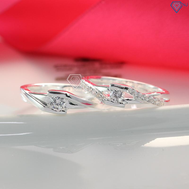 Nhẫn đôi bạc thật, nhẫn cặp bạc đẹp đính đá khắc tên ND0396 - Nhẫn đôi bạc TNJ