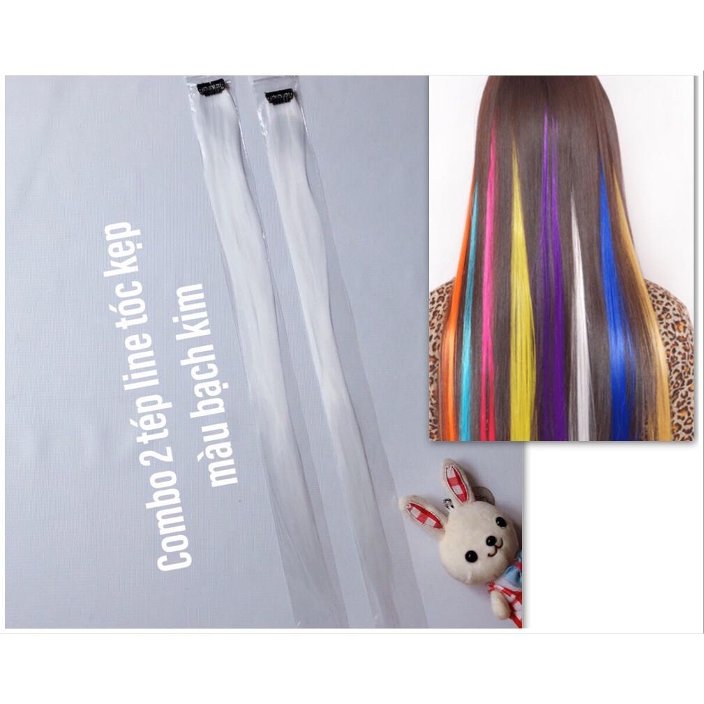 Combo 2 line tóc màu trắng tinh khôi- dài 50-60cm mỗi tép có 80-100 sợi- mua 5 line tặng 1 line cao cấp