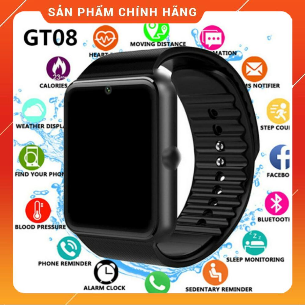 Đồng hồ thông minh GT08 gắn sim nghe gọi, thẻ nhớ nghe nhạc. Kết nối bluetooth hỗ trợ chăm sóc sức khoẻ và hoạt động thể thao. Bảo hành 12 tháng