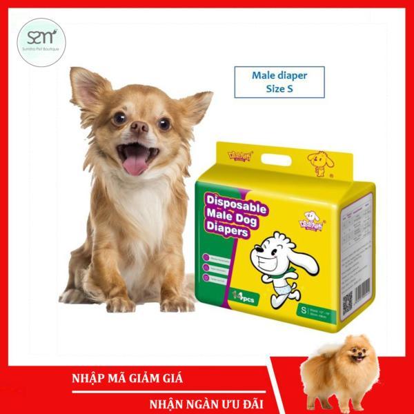 Bỉm quần cho chó mèo đực Sumiho size S 14 cái dành cho chó 3-8Kg, eo 43.5cm x 22cm