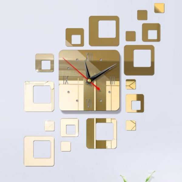 Nơi bán [3 MẪU] Đồng hồ dán tường, đồng hồ treo tường trang trí tráng gương bóng - 3 màu - DH19