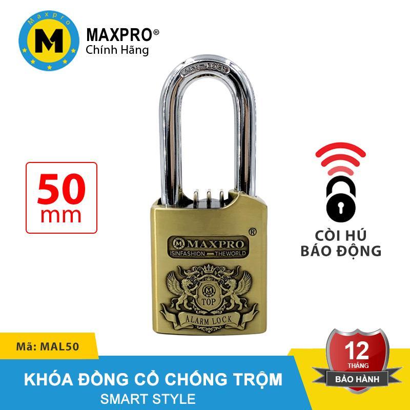 Ổ Khóa Còi Hú Báo Động Chống Trộm Chìa Nhọn MAXPRO Đồng Cổ 50mm - MAL50