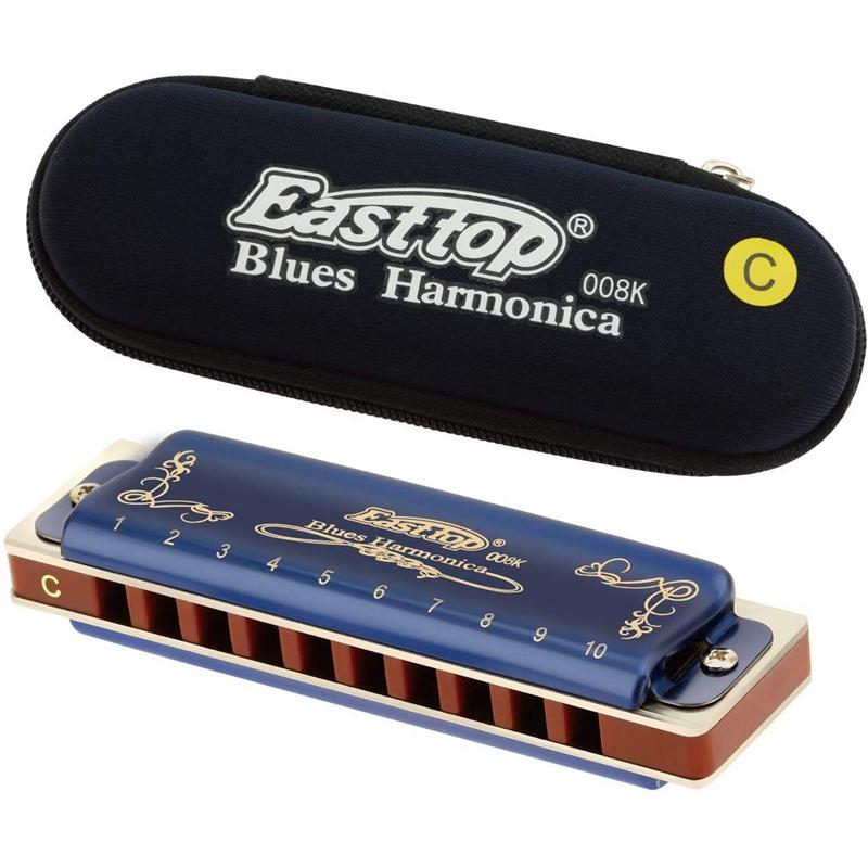 Easttop T008K 10 Hole Blues Harmonica C Key Woodwind Musical Instrument with Plastic Box Clean Cloth