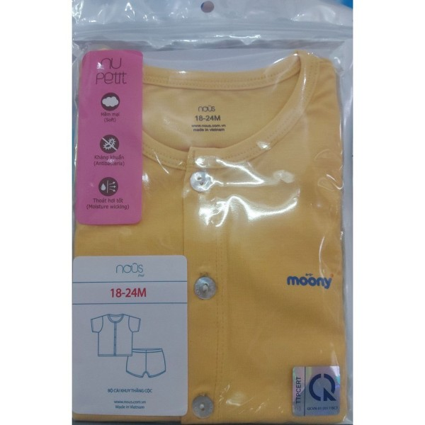 Giá bán Bộ Nous cài thẳng cộc tay màu VÀNG cho bé 18-24M 11.5-13.5kg (Quà tặng Moony)