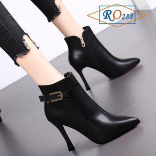 Giày bốt nữ cao gót hàng hiệu Rosata - 7cm cổ cao RO288
