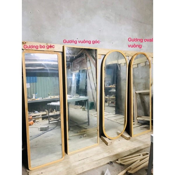 [Có Bảo Hành] Gương soi toàn thân viền gỗ thông size lớn [Giá Xưởng]