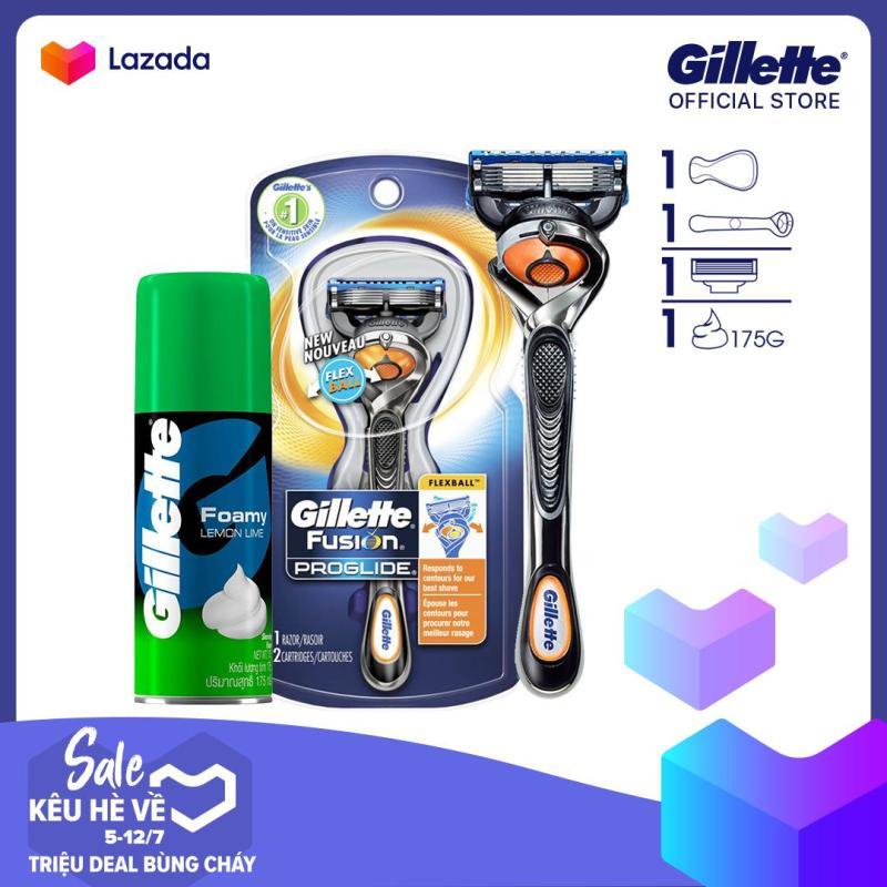 Dao cạo râu Gillette Fusion5 Proglide Flexball và bọt cạo râu Gillette Hương Chanh 50Gr