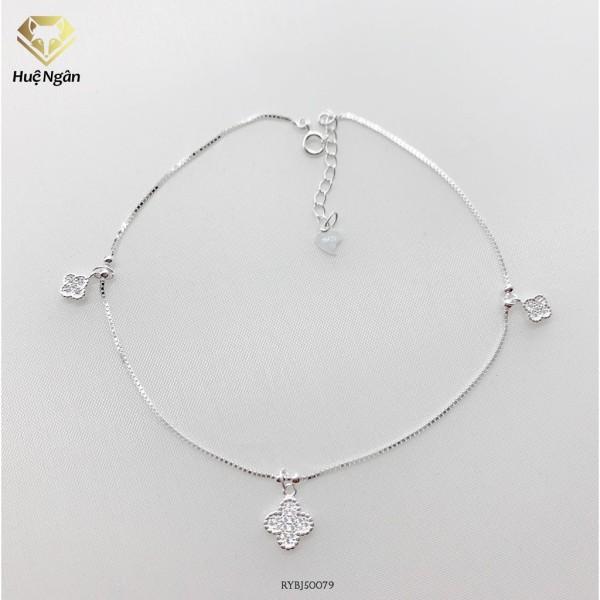 Lắc chân bạc Ý 925 Huệ Ngân - Cỏ bốn lá may mắn RYBJ50079