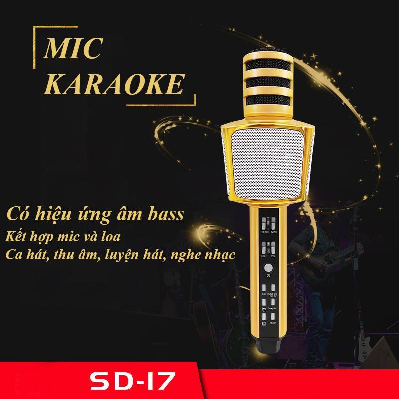 Micro Karaoke Kèm Loa Bluetooth Nhập Khau Cao Cấp, Micro Bluetooth 3 IN 1 SD17 - Hiệu Chỉnh Được Bass Treble Ấn Tượng, Mic Hát Karaoke Bluetooth Không Dây Kèm Loa Âm Vang Ấm Mic Hát Karaoke Cầm Tay Mini,  Sale Gía Sốc 50%