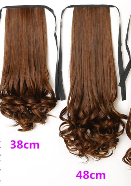 Tóc giả đuôi ngựa xoăn - tóc giả buộc đuôi ngựa uốn xoăn cực trẻ trung - đủ 4 màu - dài 48cm